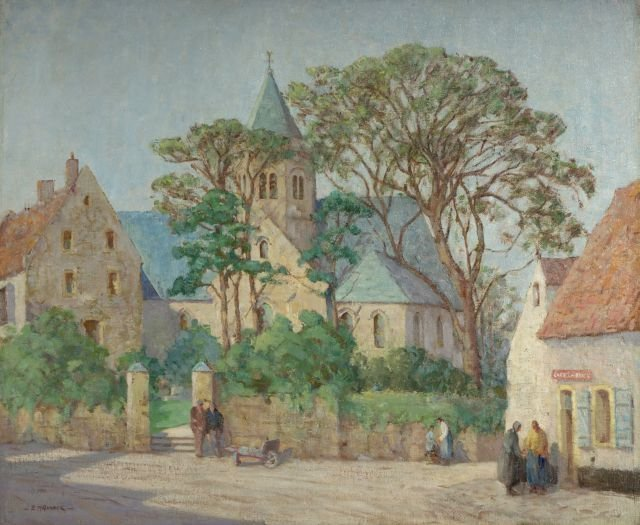 Edith Mary Garner (1881-1956) Village Scene, Oil on can