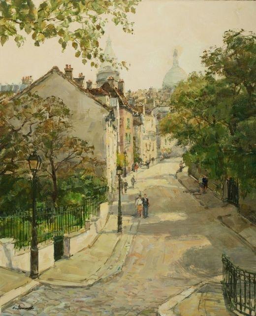 Claude Jousset (b. 1935) Paris City Scene, Montmartre,