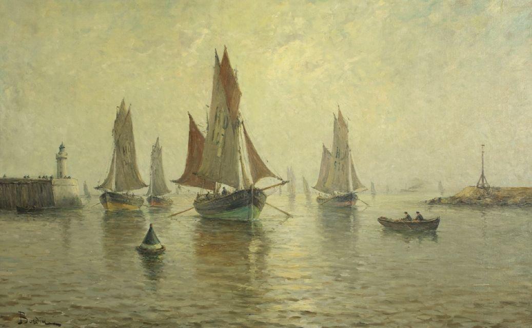 Amelie Burdin (French, b. 1834) French Harbor Scene, Oi