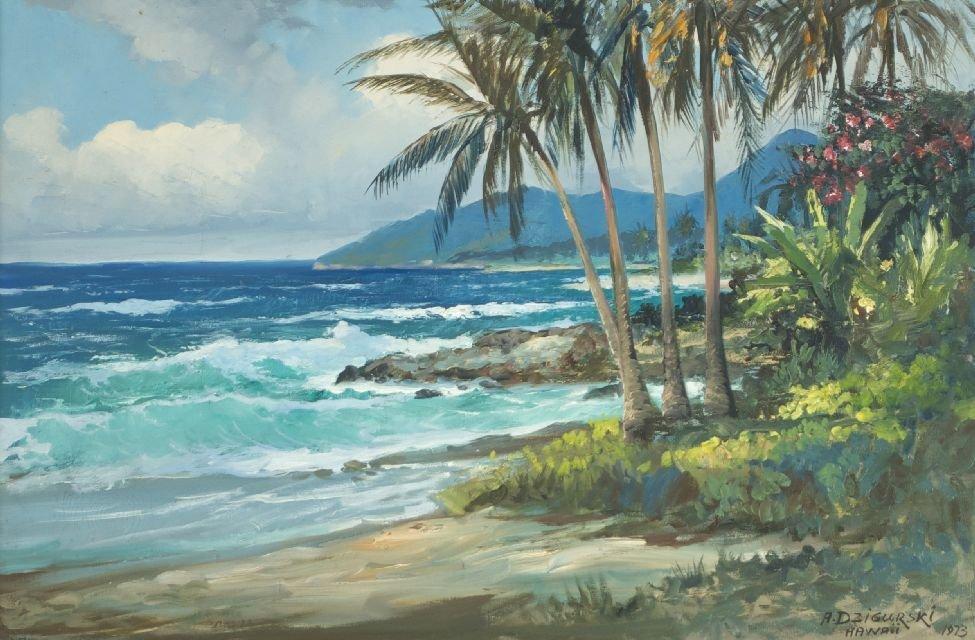Alexander Dzigurski (1911-1995) Tropical Shoreline, Oil