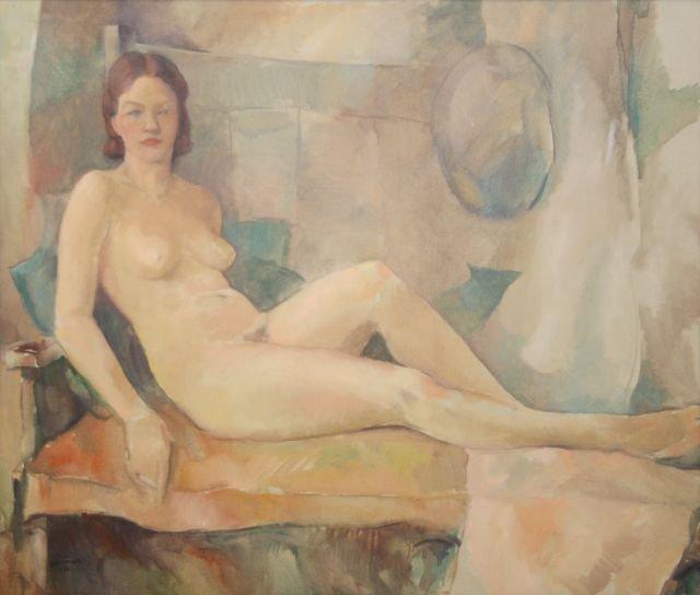 Carl Frederick Gaertner (1898-1952) Reclining Nude, Oil