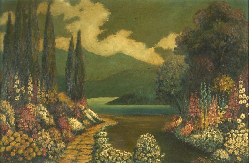 C. Miznet (19th/20th Century) Garden Landscape, Oil on