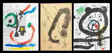 Joan Miro 18931983 Three Lithographs from Derrier L