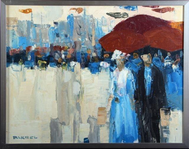 W. R. Barrel (20th Century) City Scene, Oil on canvas,