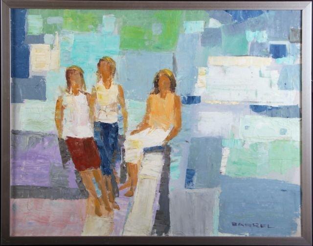W.R. Barrel (20th Century) Boardwalk, Oil on canvas,