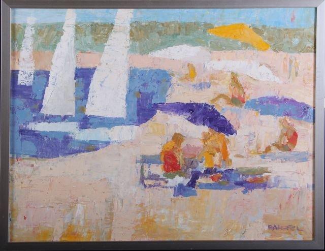 W.R. Barrel (20th Century) Beach Scene, Oil on canvas,