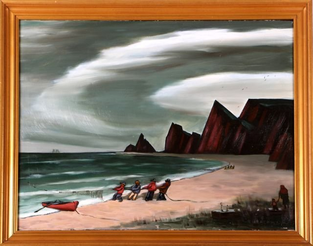Ray Grathwol (1900-1992) The Seiners, Oil on canvas,