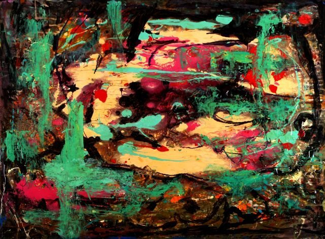 Hy Snell (b. 1919) Aftermath, Acrylic on canvas,