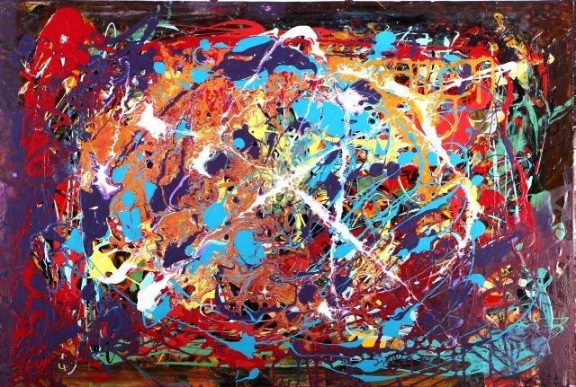 Hy Snell (b. 1919) Galactic, Acrylic on canvas,