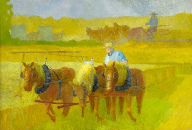 John Poti (20th Century) Three Amish Horses,