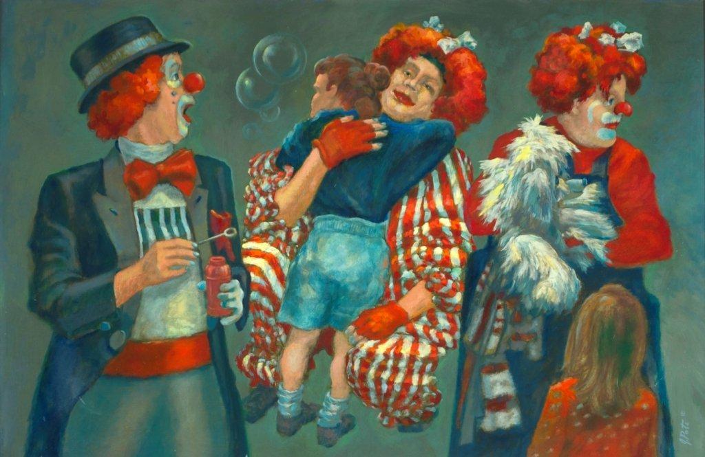 John Poti (20th Century) Three Clowns and a Puppet,