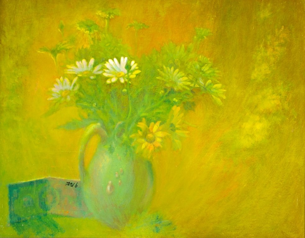 John Poti (20th Century) White Daisy in Bright Light,