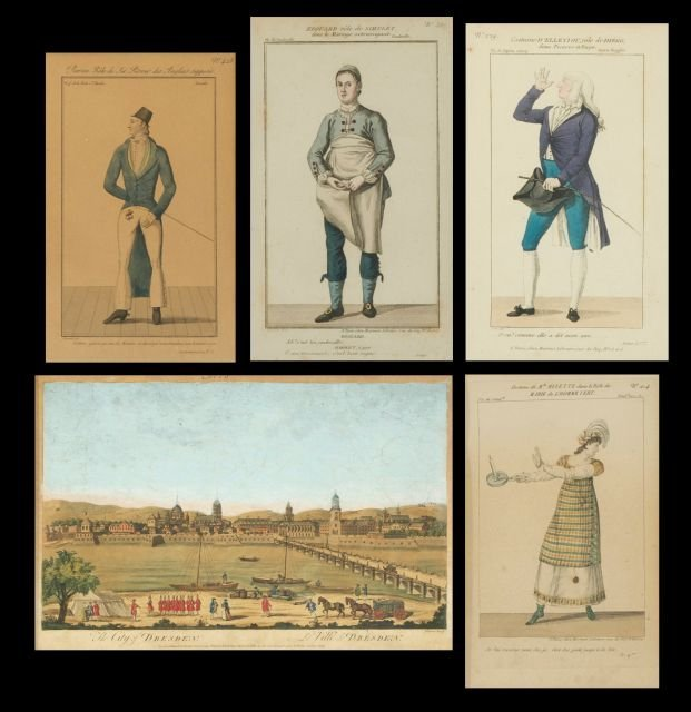 A Group of Five Hand Colored Engravings by Various Arti