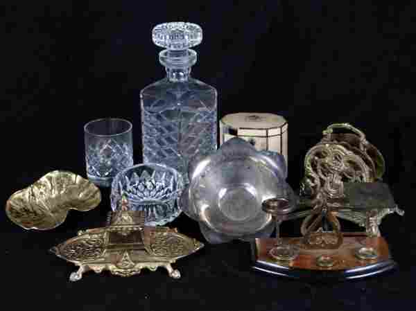 A Miscellaneous Collection of Brass and Crystal Decorat