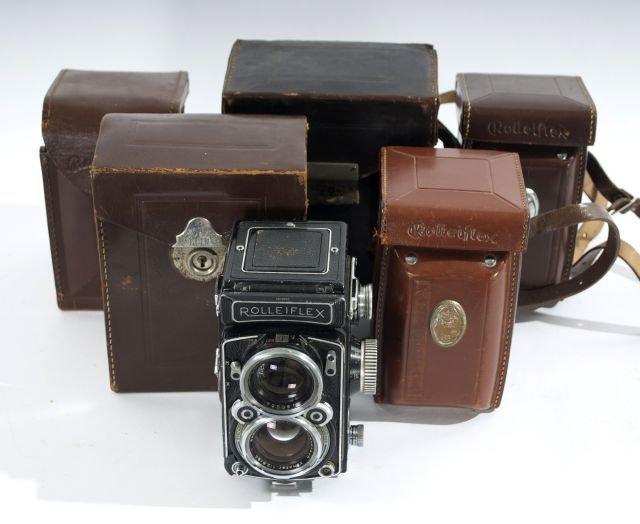 A Pair of Vintage Rolleiflex Cameras, 20th Century,