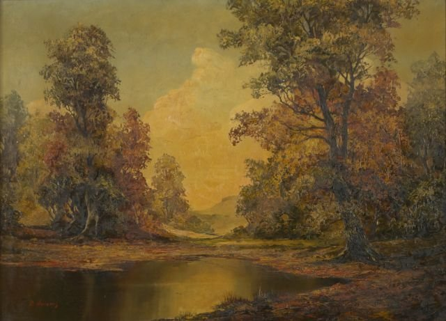 D. Adams (20th Century) Autumn Landscape, Oil on