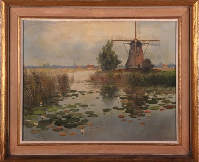 Charles Meeuwissen (20th Century) Windmill Scene, Oil