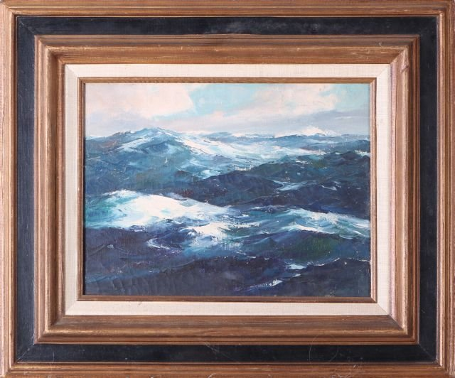 Artist Unknown (20th Century) Seascape, Oil canvas,