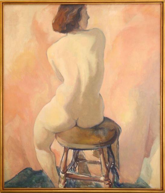 Carl Frederick Gaertner (1898-1952) Seated Nude, Oil on