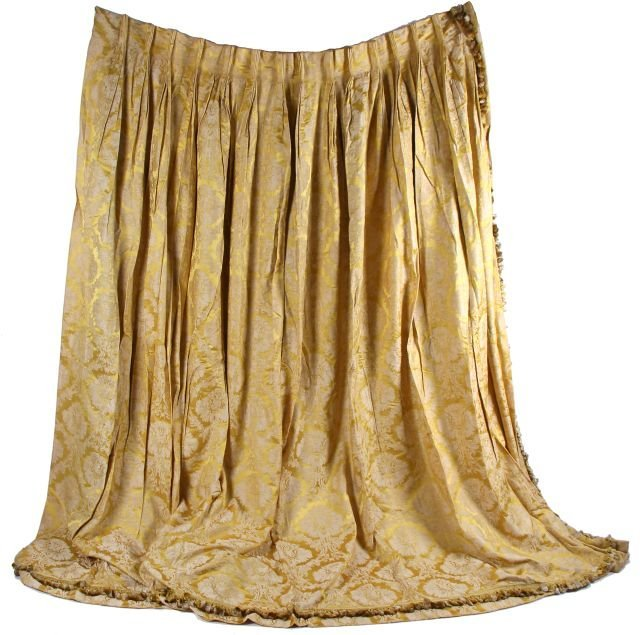 A Pair Of French Silk Brocade Curtains 19th 20th