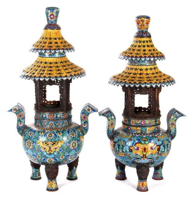 A Pair of Chinese Palace Size Cloisonné Pagoda Form Tri