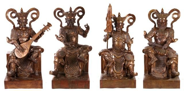 A Group of Four Large Chinese Brass Warriors, 20th Cent