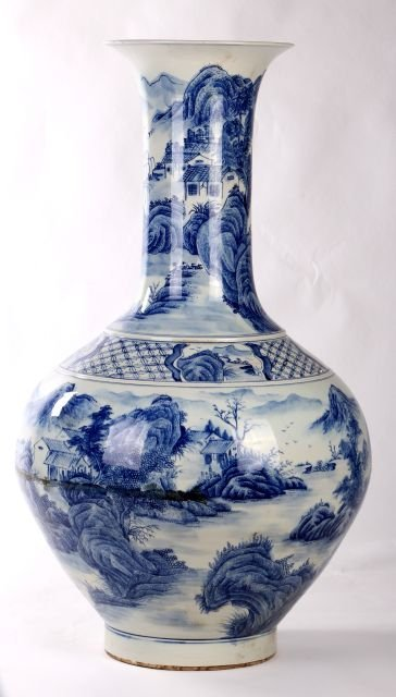 A Large Chinese Blue and White Porcelain Vase, 20th Cen