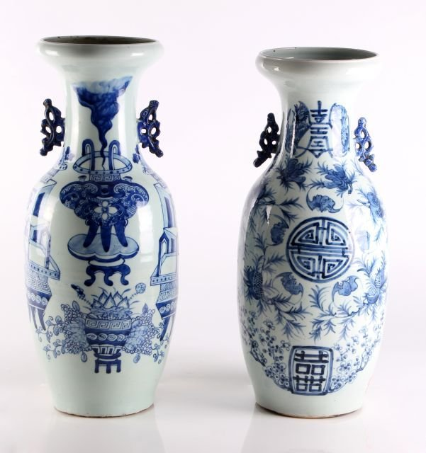 A Pair of Chinese Blue and White Porcelain Vases, 20th