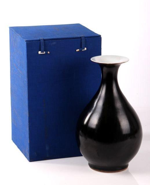 A Chinese Porcelain Blackware Vase, Kangxi, 20th Centur