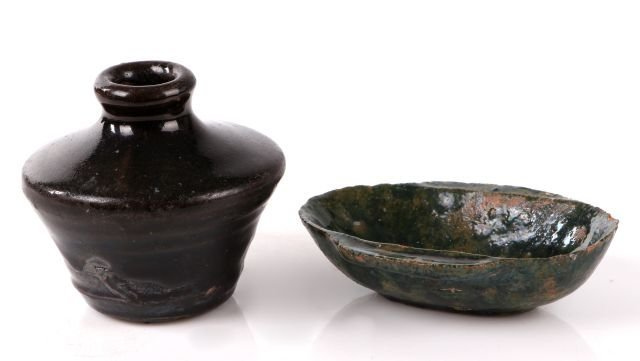 A Chinese Han Dynasty Earthenware Ear Cup with Green Gl