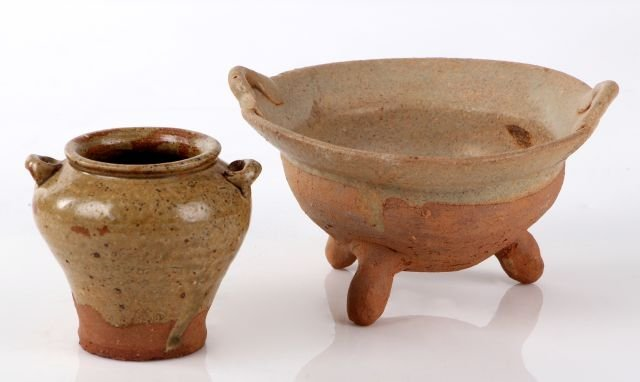 Two Chinese Earthenware Glazed Vessels,