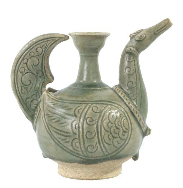 A Thai Green Celadon Kendi, ca. 14th - 16th Century,