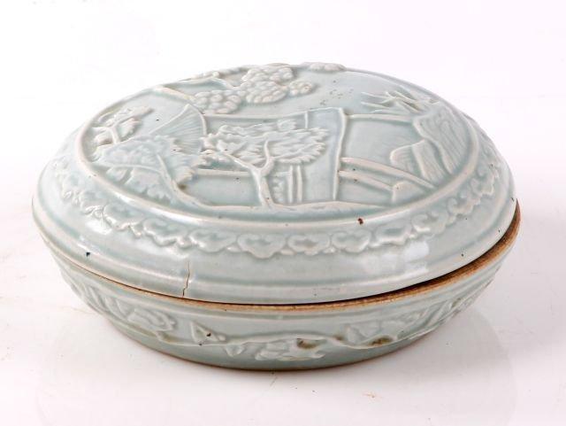 A Chinese Porcelain Celadon Lidded Box.