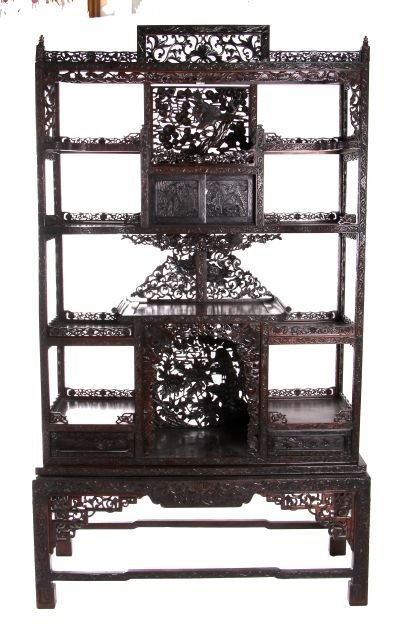 A Chinese Carved Rosewood Display Shelf, 20th Century.