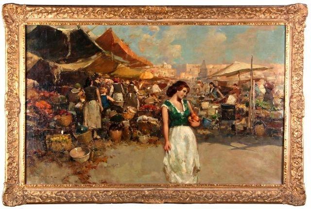 Giuseppe Pitto (1857-1928) Market Scene, Oil on canvas,