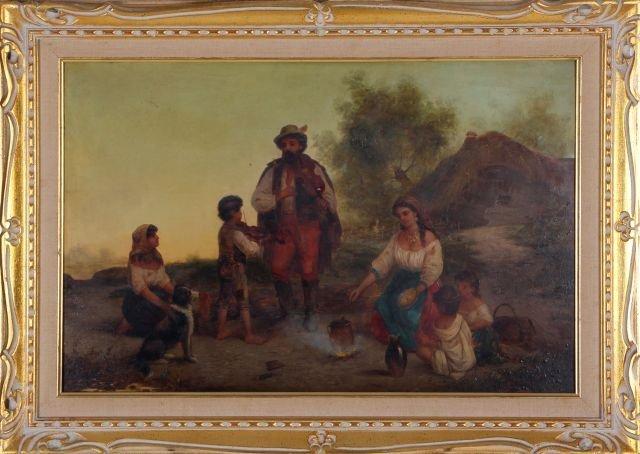 Hungarian School, (19th Century) Gypsy Family, Oil on b