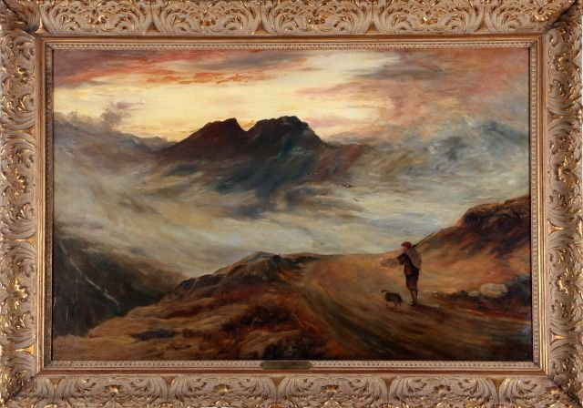W. Collings (English, 20th Century) Mountain Scene with