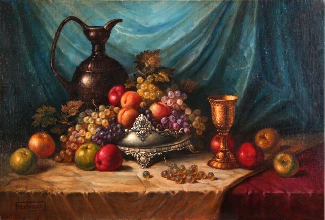 Jeno Friedlinger (b. 1890) Still Life with Fruit, Oil o