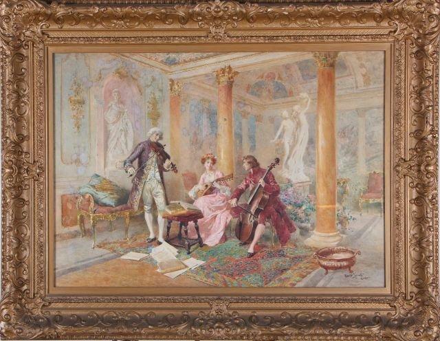 Mario Spinetti (1842-1909) Musical Trio, Watercolor on