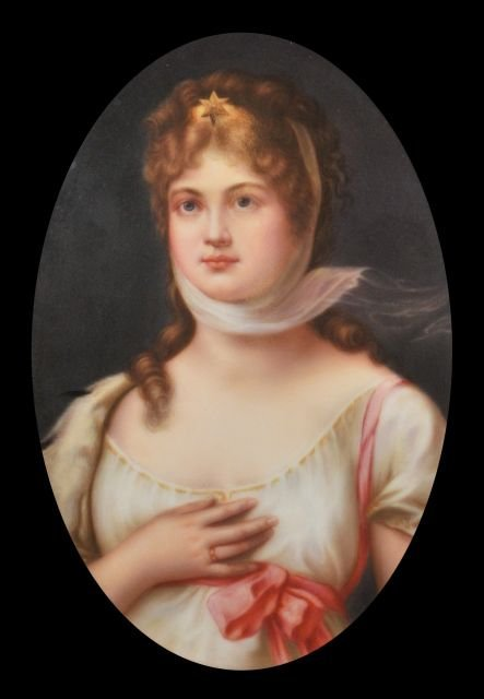 A Continental Porcelain Painted Plaque of Queen Louise