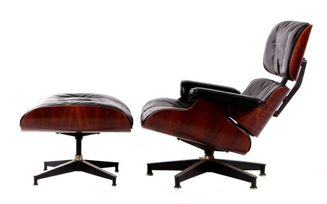A Charles and Ray Eames Lounge Chair and Ottoman by Her