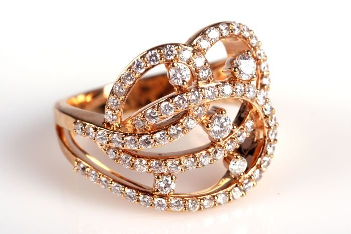 A Fred & Co. 14kt. Rose Gold and Diamond Band,