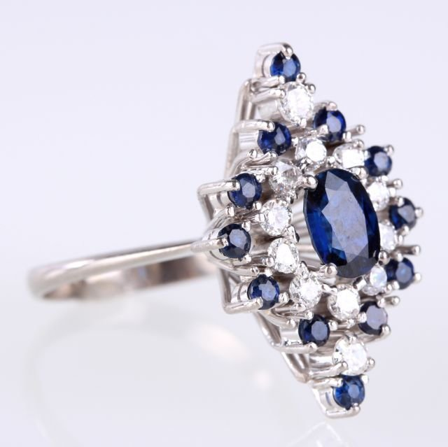 A 14kt. White Gold, Diamond and Blue Sapphire Ring,