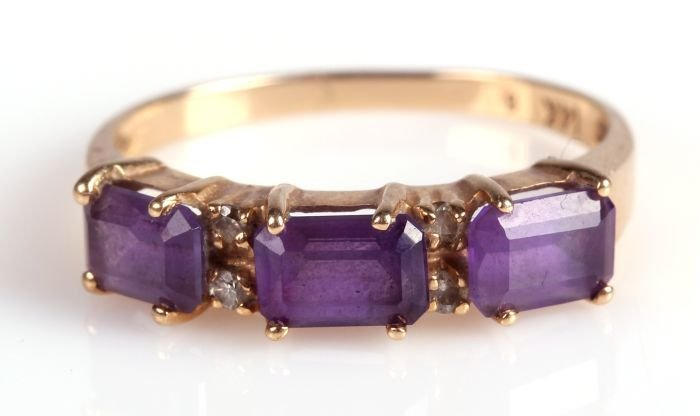 A 14kt. Yellow Gold, Amethyst and Diamond Melee Ring.