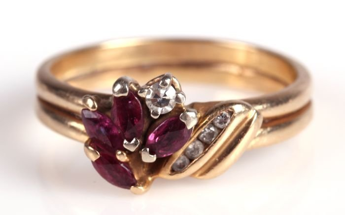 A 14kt. Yellow Gold, Red Garnet and Diamond Ring,
