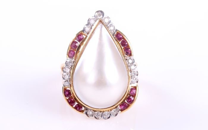 An 18kt. Yellow Gold, Pearl, Ruby and Diamond Ring,
