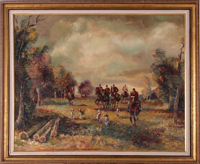 Artist Unknown (20th Century) Fox Hunt, Oil on canvas,