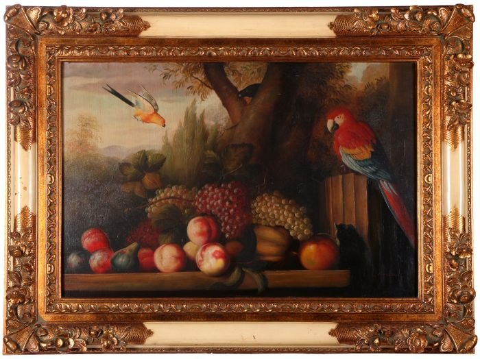 G. Stewart (20th Century) Still Life with Parrot, Oil