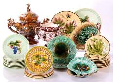 A Collection of Majolica Earthenware Serving and