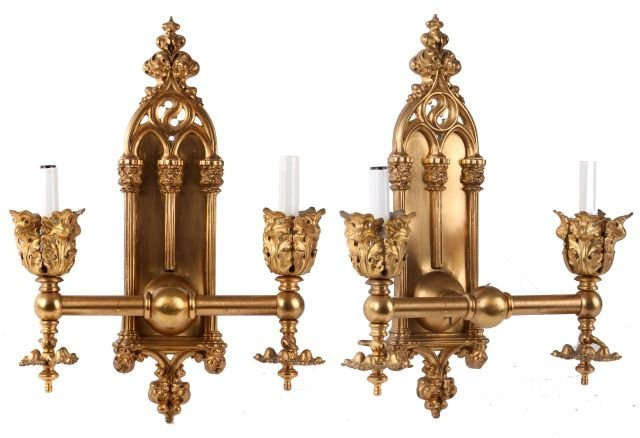 A Pair of Gothic Revival Gilt Metal Wall Sconces,